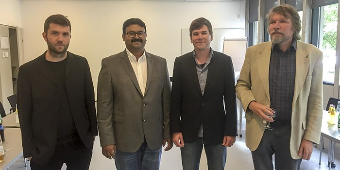 Arghya Bhowmik (second from left) with the three official opponents (Egill Skulason, Felix Studt, and Poul Norby)at his PhD defence