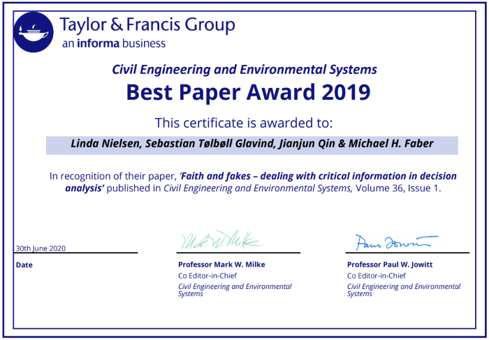 Certificate for Best Paper Award