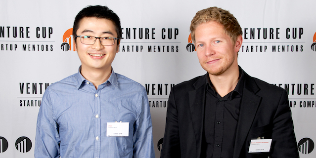 Li Han and Dennis Valbjørn Christensen from DTU Energy won the Venture Cup 2015. Photo: Hannibal-Bach